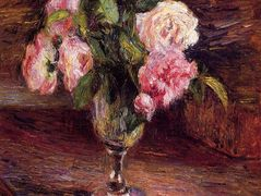 Roses in a Glass – Camille Pissarro