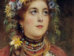 Russian Beauty in Summer Garland – Konstantin Makovsky