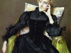 Seated Woman in Black Dress – William Merritt Chase