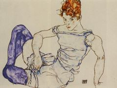 Seated Woman in Violet Stockings — Egon Schiele