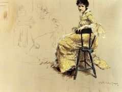 Seated Woman in Yello Striped Gown – William Merritt Chase