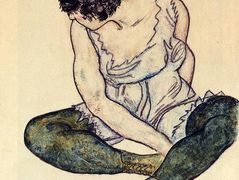 Seated Woman with Green Stockings — Egon Schiele