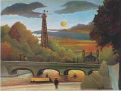 Seine and Eiffel tower in the sunset – Henri Rousseau