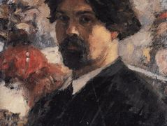 "Self-Portrait against the background of picture ""The Conquest of Siberia by Yermak"" – Vasily Surikov"