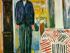 Self-portrait. Between the clock and the bed – Edvard Munch