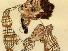 Self Portrait with Checkered Shirt — Egon Schiele