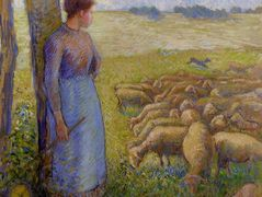 Shepherdess and Sheep – Camille Pissarro