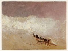 Shore Scene with Waves and Breakwater — William Turner