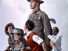 Soldier and comrads – Norman Rockwell