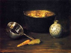 Still Life with Pepper and Carrot — William Merritt Chase