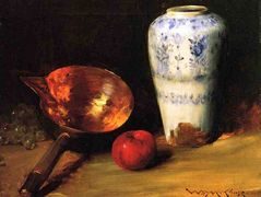 Still Liife with China Vase, Copper Pot, an Apple and a Bunch of Grapes — William Merritt Chase
