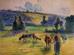 Study for 'Cowherd at Eragny' – Camille Pissarro