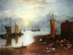 Sun Rising through Vagour Fishermen Cleaning and Sellilng Fish — William Turner