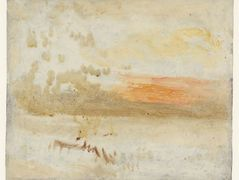 Sunset Seen from a Beach with Breakwater — William Turner