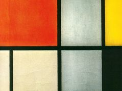 Tableau 3 with Orange -Red, Yellow, Black, Blue and Gray — Piet Mondrian