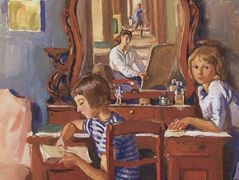 Tata and Katia in the mirror – Zinaida Serebriakova