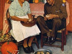 Thanksgiving Mother and Son Peeling Potatoes – Norman Rockwell