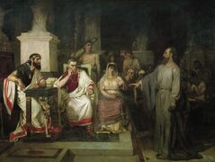 The Apostle Paul explains the tenets of faith in the presence of King Agrippa, his sister Berenice, and the proconsul Festus — Vasily Surikov