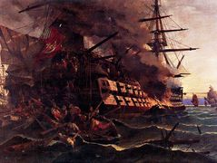 The attack on the Turkish flagship in the Gulf of Eressos at the Greek island of Lesvos by a fire ship commanded by Dimitrios Papanikolis – Konstantinos Volanakis
