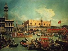 The Bucintgoro by the Molo on Ascension Day – Canaletto