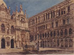 The courtyard of the Doge's Palace in Venice – Rudolf von Alt