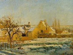 The Effect of Snow at Hermitage – Camille Pissarro