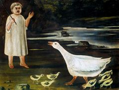 Girl grazing a goose with goslings – Niko Pirosmani