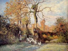 The Goose Girl at Montfoucault, White Frost – Camille Pissarro