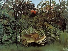 The Hungry Lion Throws Itself on the Antelope – Henri Rousseau