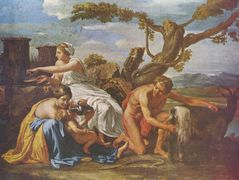 The Infant Jupiter Nurtured by the Goat Amalthea – Nicolas Poussin