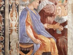 The Judicial Virtues: Pope Gregory IX approving the Vatical Decretals; Justinian handing the Pandects to Trebonianus (detail) — Raphael