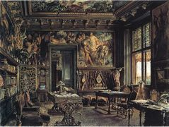 The library in the Palais Dumba – Rudolf von Alt