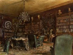 The Library of the Palais Lanckoronski, Vienna – Rudolf von Alt