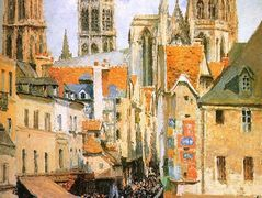 The old market at Rouen – Camille Pissarro