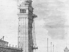 The Piazzetta: Looking North, the Campanile under Repair – Canaletto