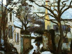 The Road to L'Hermitage in Snow – Camille Pissarro
