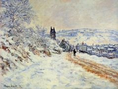The Road to Vetheuil, Snow Effect – Claude Monet