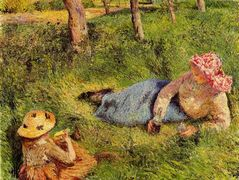 The Snack, Child and Young peasant at Rest – Camille Pissarro