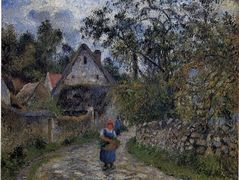 The village path – thatched cottages in Valhermeil – Camille Pissarro
