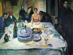 The Wedding of the Bohemian, Munch Seated on the Far Left — Edvard Munch