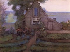Triangulated Farmhouse Facade with Polder in Blue – Piet Mondrian
