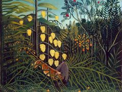 Tropical Forest: Battling Tiger and Buffalo  – Henri Rousseau