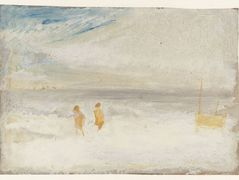 Two Figures on a Beach with a Boat – William Turner