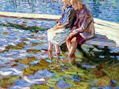 Two Girls on a Footbridge – Nikolay Bogdanov-Belsky