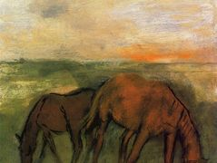 Two Horses in a Pasture – Edgar Degas
