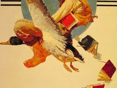 Vacation Boy riding a Goose – Norman Rockwell