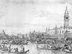 Venice: The Canale di San Marco with the Bucintoro at Anchor – Canaletto