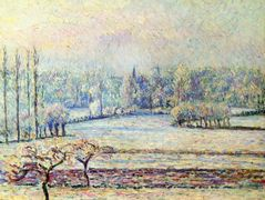 View of Bazincourt, Frost, Morning – Camille Pissarro