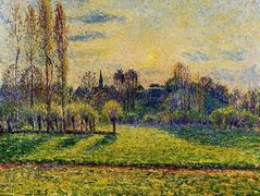 View of Bazincourt, Sunset – Camille Pissarro