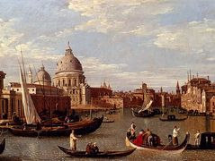 View Of The Grand Canal And Santa Maria Della Salute With Boats And Figures In The Foreground, Venice – Canaletto